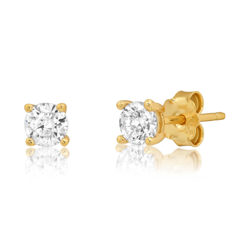 4 MM SOLITAIRE STUD, GOLD