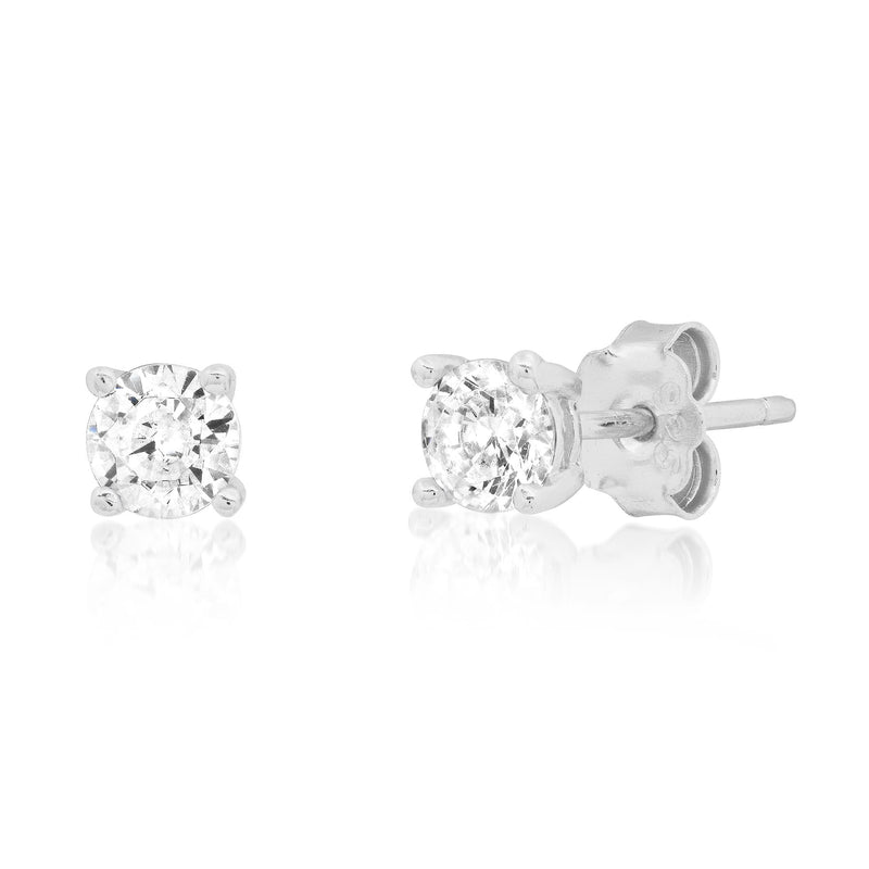 4 MM SOLITAIRE STUD, SILVER