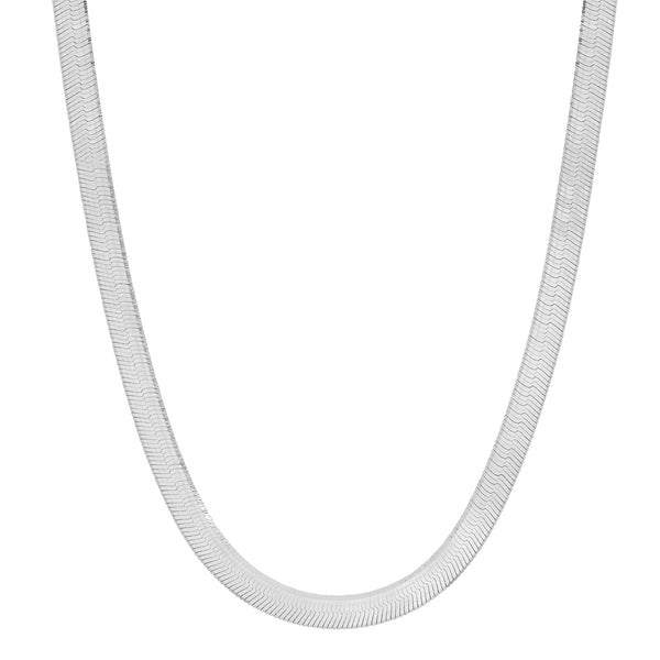 HERRINGBONE CHAIN NECKLACE, SILVER