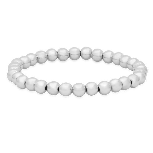 6 MM  STRETCH BRACELET, SILVER