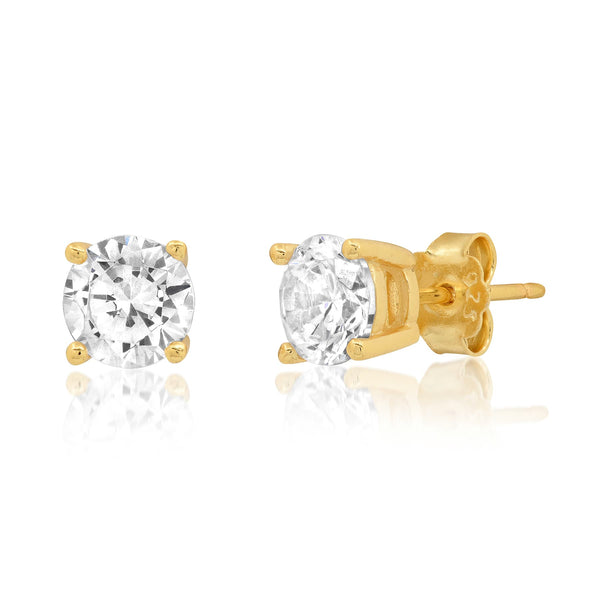 6 MM SOLITAIRE STUD, GOLD