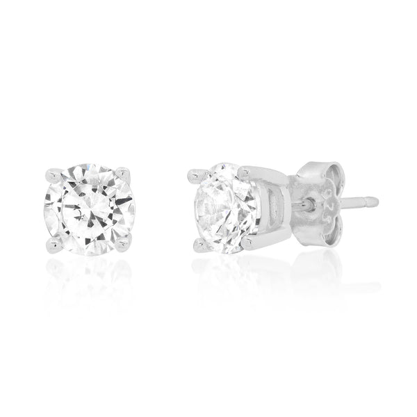 6 MM SOLITAIRE STUD, SILVER