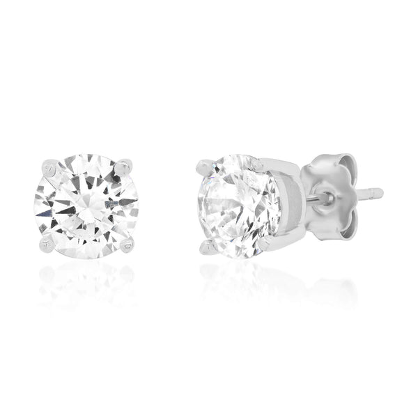 8 MM SOLITAIRE STUD, SILVER