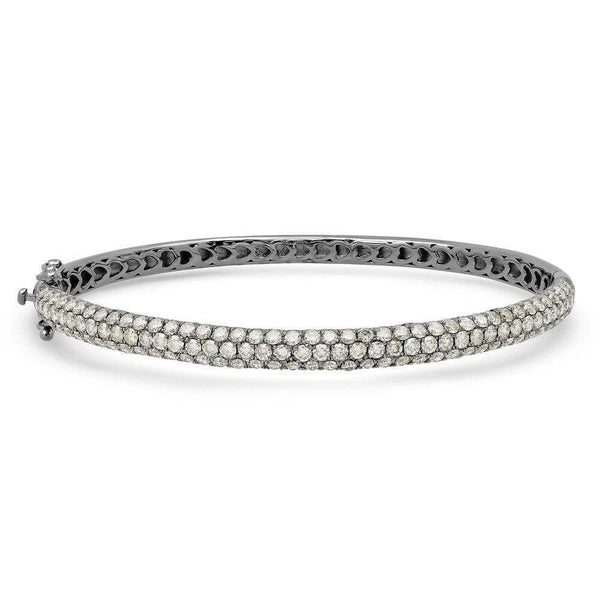 DIAMOND ENCRUSTED BANGLE, BR STERLING SILVER