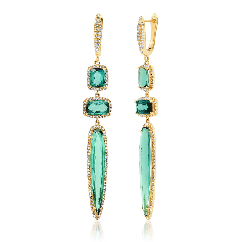 ALLEGRO EARRINGS, TEAL TOURMALINE, GOLD
