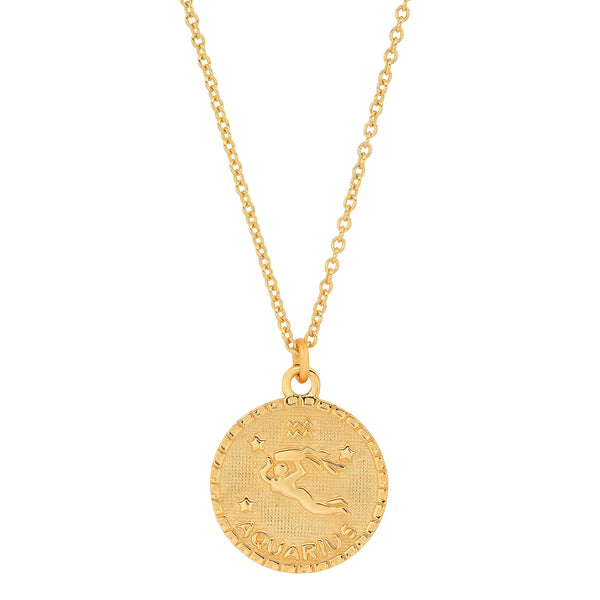 AQUARIUS DISC NECKLACE, GOLD