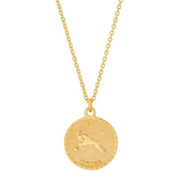 ARIES DISC NECKLACE, GOLD