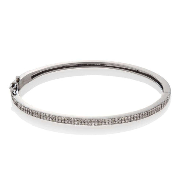 DOUBLE ROW DIAMOND HINGE BANGLE, BR STERLING SILVER