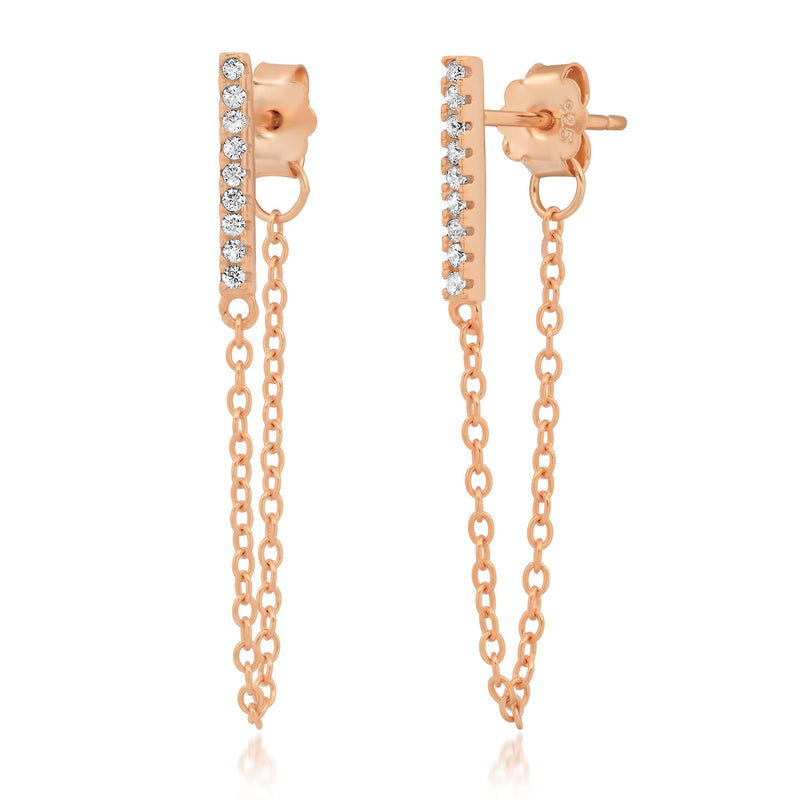 BAR CHAIN EARRING, ROSE GOLD