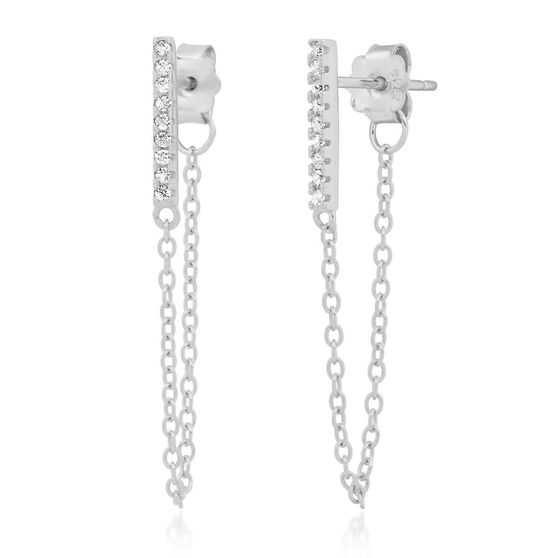 BAR CHAIN EARRING, SILVER