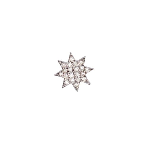 SINGLE BRIGHT DIAMOND STUD, BR STERLING SILVER