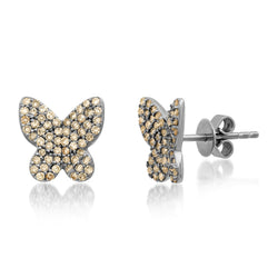 DIAMOND BUTTERFLY STUDS,  BR STERLING SILVER