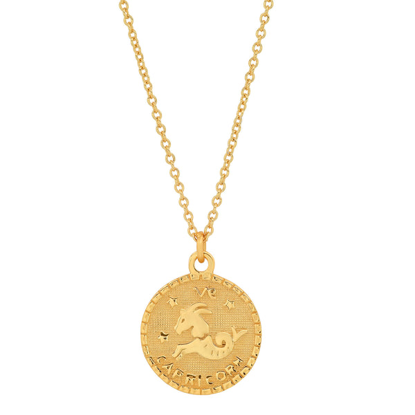 CAPRICORN DISC NECKLACE, GOLD