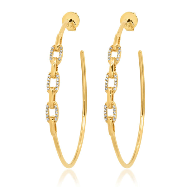 CHAIN LINK HOOPS, GOLD