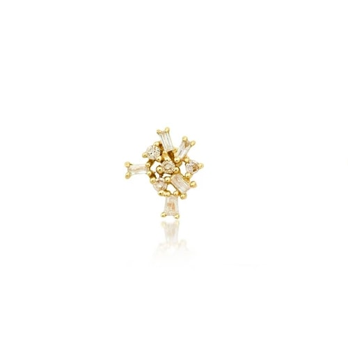 SINGLE CLUSTER BAGUETTE DIAMOND STUD, GOLD