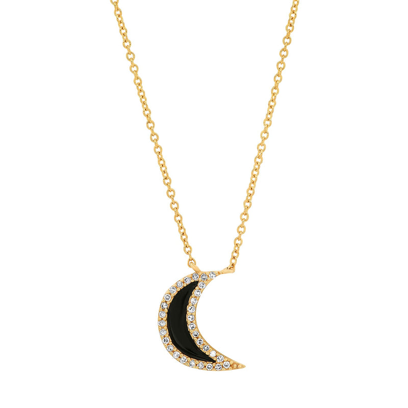BLACK SPINEL CRESCENT MOON NECKLACE, GOLD
