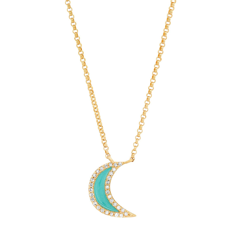 TURQUOISE CRESCENT MOON NECKLACE, GOLD