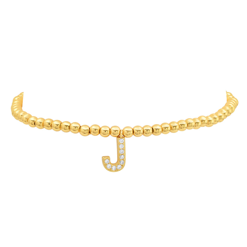 STRETCH INITIAL BRACELET, GOLD