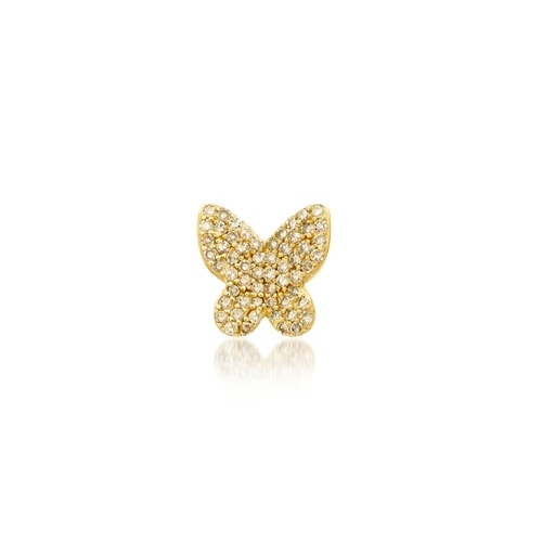 SINGLE DIAMOND BUTTERFLY STUD, GOLD