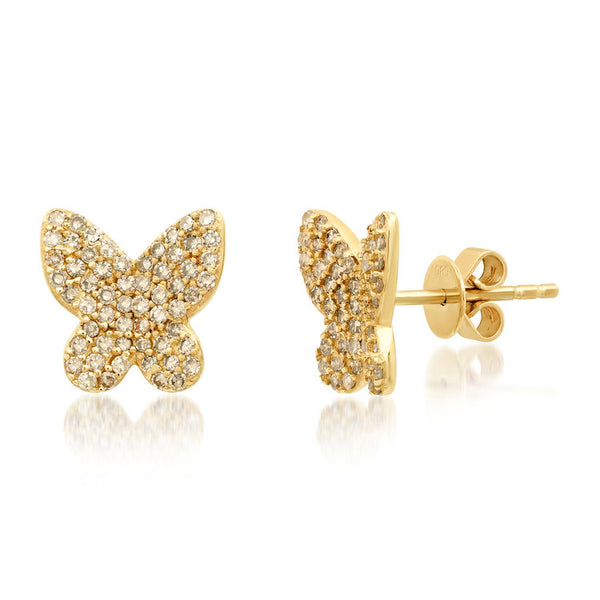 DIAMOND BUTTERFLY STUDS, GOLD