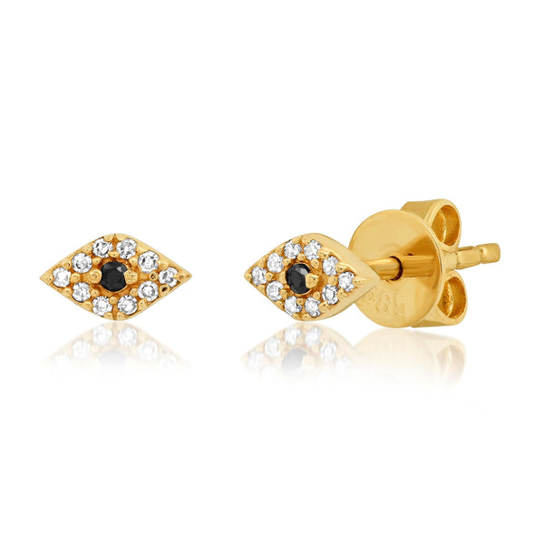 DIAMOND EVIL EYE STUDS, GOLD