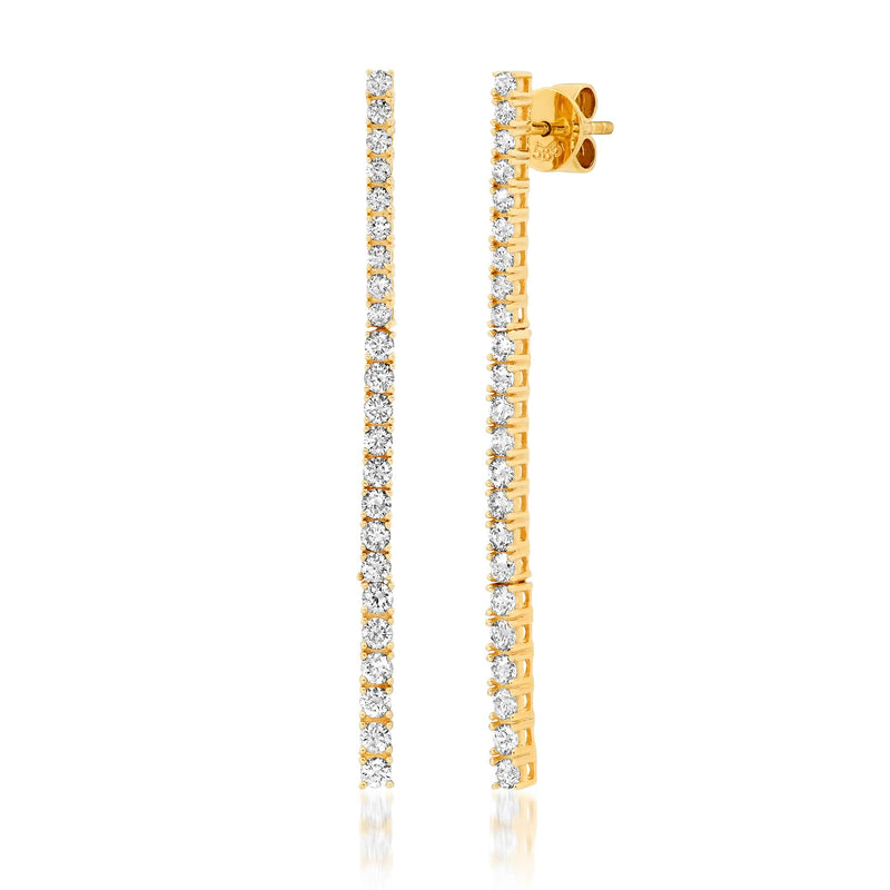 DIAMOND TENNIS EARRINGS, GOLD