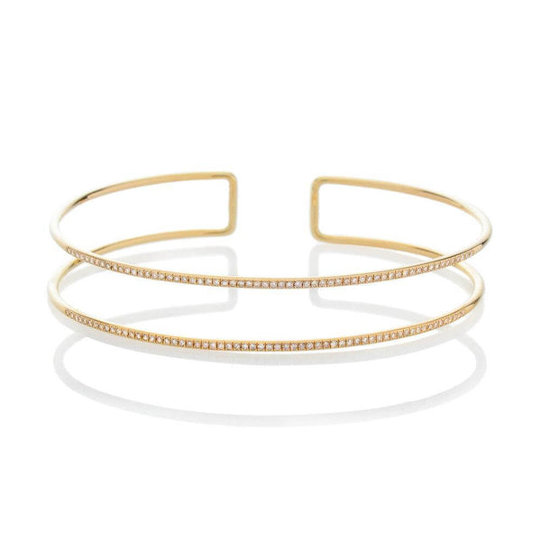 DOUBLE FULL CIRCLE DIAMOND CUFF, GOLD