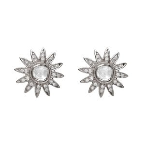 SLICED DIAMOND SUNBURST STUDS, BR STERLING SILVER