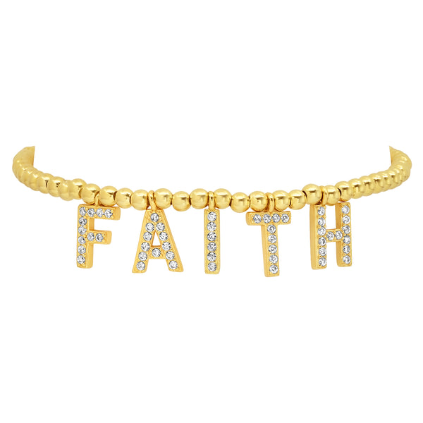 FAITH STRETCH BRACELET, GOLD