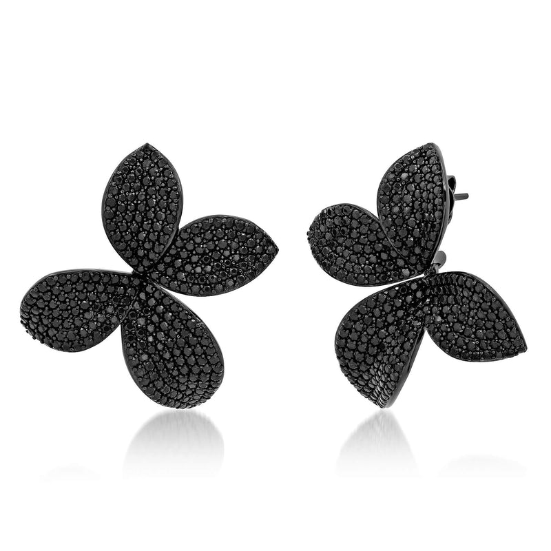 FIORE DROP EARRING, BRSS, BLACK