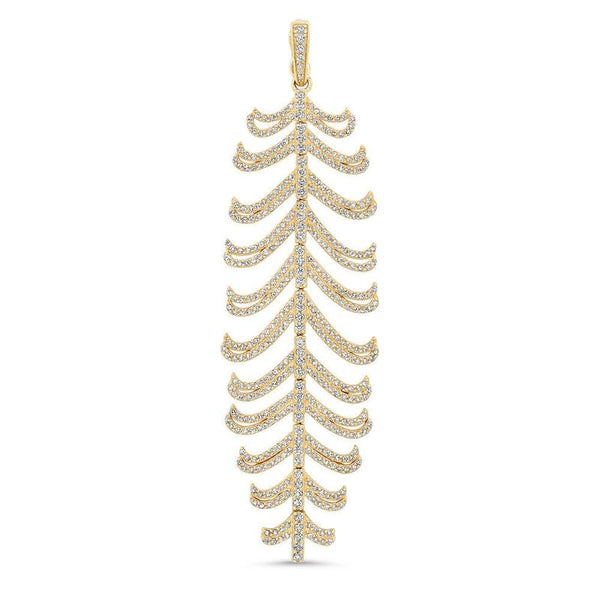 GRACEFUL DIAMOND FEATHER PENDANT, GOLD