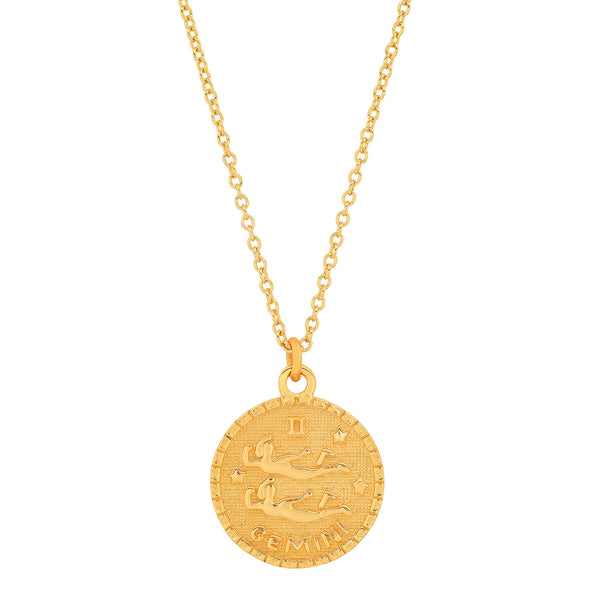 GEMINI DISC NECKLACE, GOLD