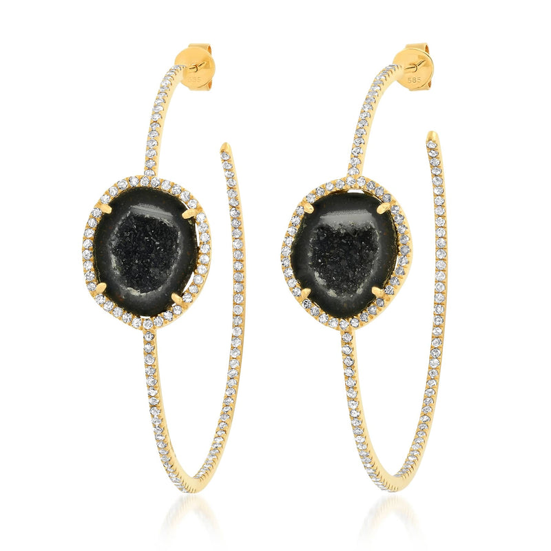 GEODE DIAMOND HOOPS, GOLD