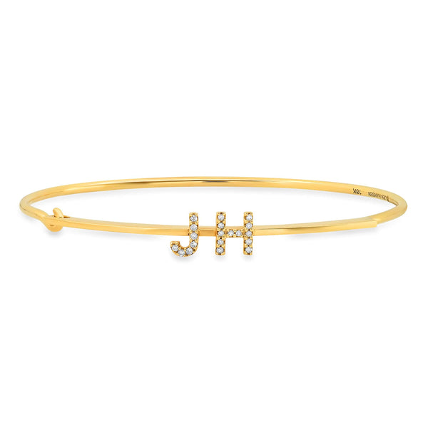 CUSTOM DIAMOND LETTER BRACELET, GOLD