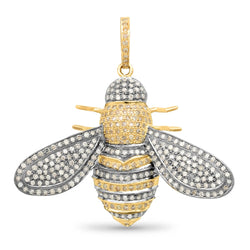 DIAMOND BUMBLE BEE PENDANT, GOLD