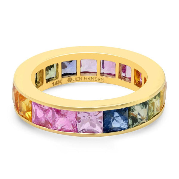 Large Channel Set Rainbow Sapphire Ring, Gold.jpg