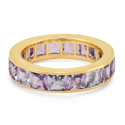 LARGE LAVENDER SAPPHIRE CHANNEL SET RING, GOLD