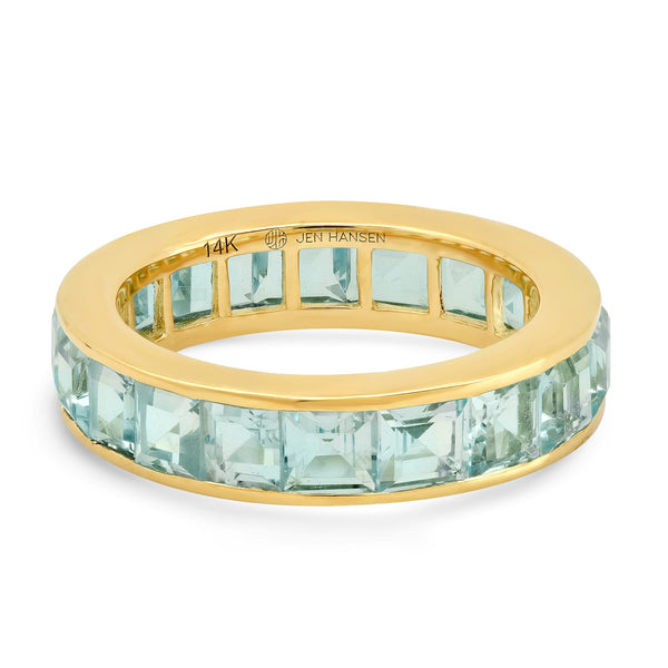LARGE SKY BLUE TOPAZ CHANNEL SET RING, GOLD