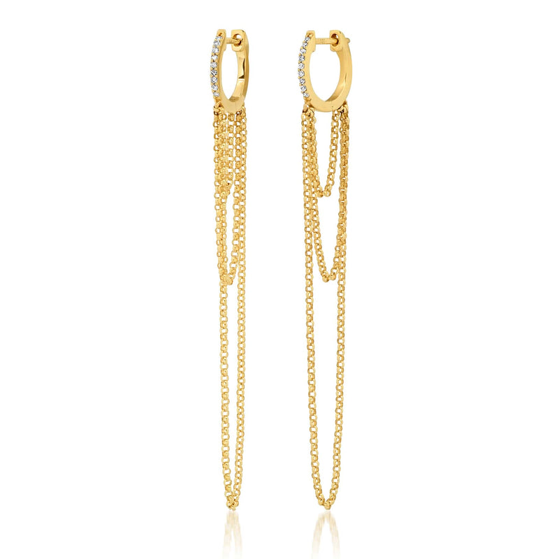 LAYERED CHAIN EARRINGS, GOLD