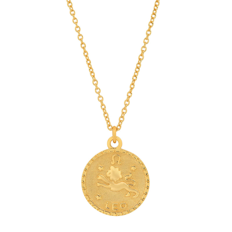 LEO DISC NECKLACE, GOLD