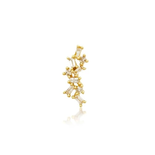 SINGLE LINE BAGUETTE DIAMOND STUD, GOLD