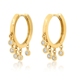LITTLE DANGLE FLAT HOOP EARRINGS, GOLD