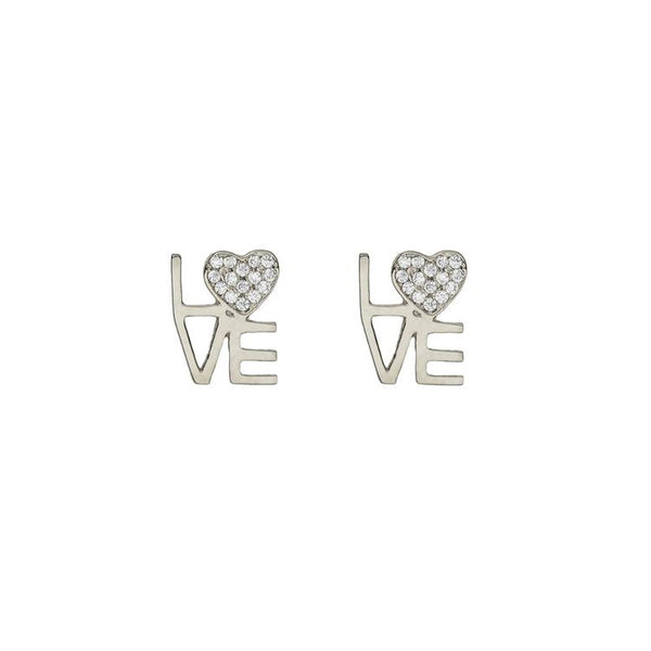LOVE SQUARED EARRING, SILVER