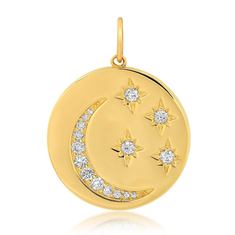 MOON & STAR DISC CHARM, GOLD