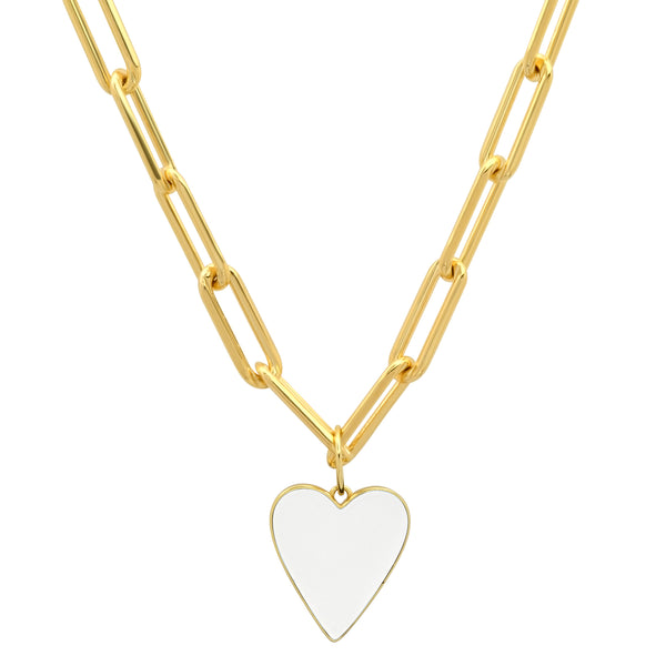 REVERSIBLE B & W HEART PAPERCLIP CHAIN GOLD