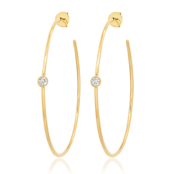 ONE STUD DIAMOND HOOPS, GOLD