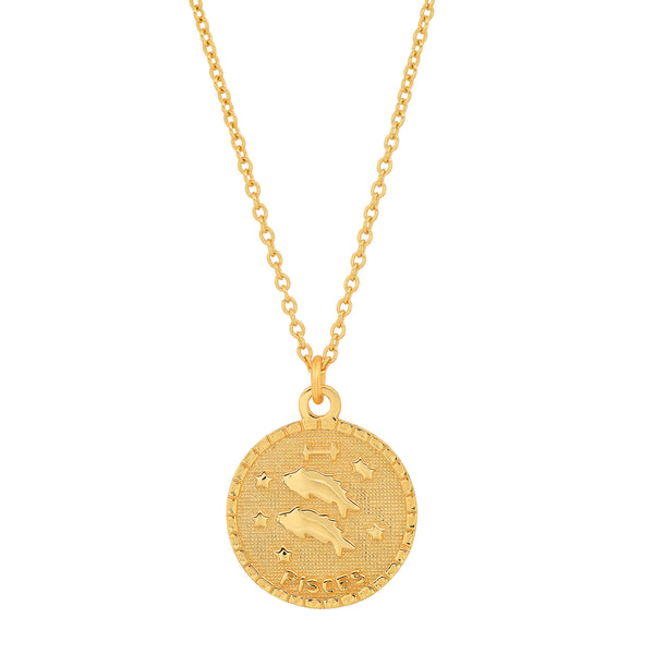 PISCES DISC NECKLACE, GOLD