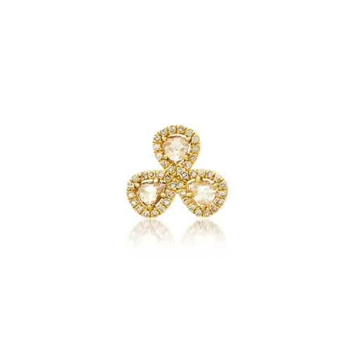 SINGLE RENEWAL THREE DIAMOND STUD, GOLD