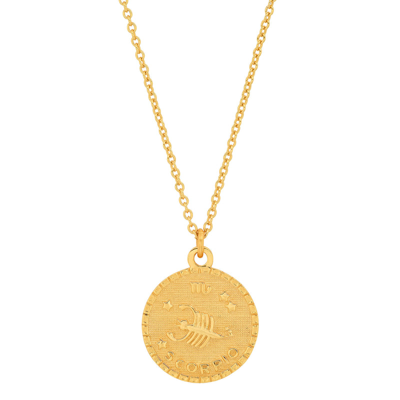 SCORPIO DISC NECKLACE, GOLD