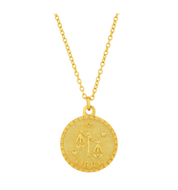LIBRA DISC NECKLACE, GOLD